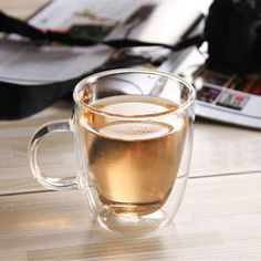Double walled glass mugs one piece cup 350ml coffee tea bear mug cups heat resisting -30 to 150 degree celsius