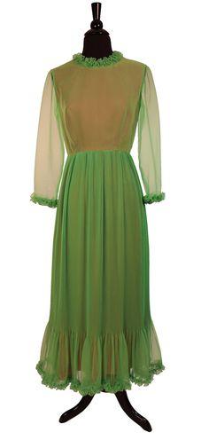 Vintage 1960's  MOD Edwardian Hostess Maxi Dress by TheHoneyWitch