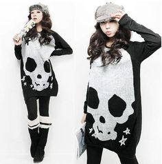 Korea Fashion New Skull Printed Knitting Pullover 4.99