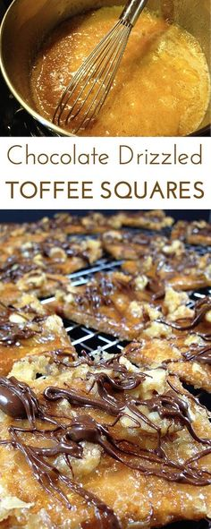 Chocolate Drizzled Toffee Squares: incredibly addictive and seriously one of the easiest bars you'll ever make. Just five ingredients you probably already have on hand. Pinned 2.7K+