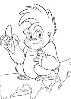 Tarzan Coloring Pages Make your world more colorful with free printable coloring pages from italks. Our free coloring pages for adults and kids. Monkey Coloring Pages, Coloring Sheets For Kids, Disney Coloring Pages, Christmas Coloring Pages, Animal Coloring Pages, Free Printable Coloring Pages, Coloring Book Pages, Kids Coloring, Free Coloring