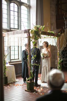 Lace-draped chuppah.  Coordination/Design: Allison Miller, Kirkbrides / Floral Decor/Lighting: The Budding Tree.