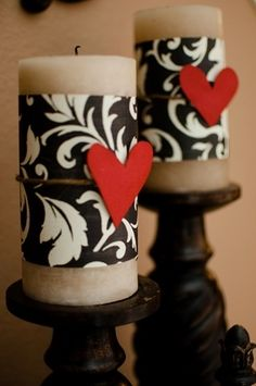 decorate with scrapbooking paper | Fun Decorating Ideas / candle, scrapbook paper, felt heart!