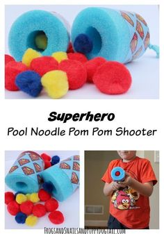Superhero Pool Noodle Pom Pom Shooter ~ Safe and hours of fun for younger kids! Puppet Crafts, Vbs Crafts, Camping Crafts, Crafts For Kids, Superhero Party Games, Superhero Birthday Party, Boy Birthday, Superhero Preschool, Super Hero Birthday