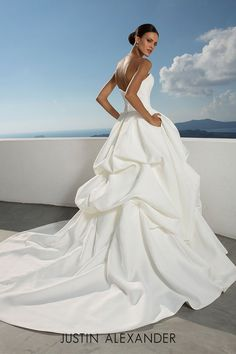 ea20b390a4ad Clean satin dropped waist wedding ball gown with pick up skirt. Justin  Alexander, Pick