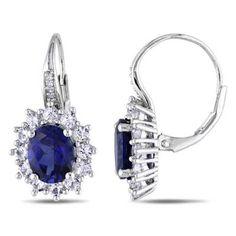 Amour Argent Sterling Topaze Bleue et Diamants Accent Dangle Earrings