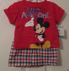 Disney Baby Mickey Mouse, I Wake Up Awesome!, 0/3 Mos. Tee Shirt & Shorts…