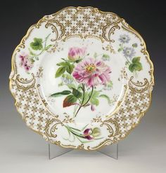 Antique English Flower Decorated Gilded Cabinet Plate Early | eBay
