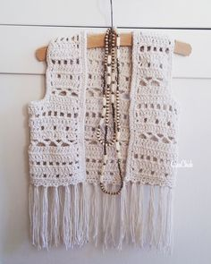 Crochet boho vest for a kid. Pull Crochet, Mode Crochet, Diy Crochet And Knitting, Crochet Coat, Crochet Girls, Crochet For Kids, Crochet Shawl, Crochet Clothes, Crochet Baby