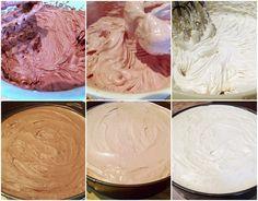 Tort cu trei tipuri de mousse, în trei culori - Rețete Merișor Mousse, Icing, Ice Cream, Desserts, Food, No Churn Ice Cream, Tailgate Desserts, Deserts, Icecream Craft