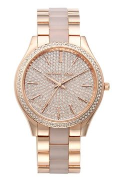 Michael Kors 'Slim Runway' Pavé Dial Blush Acetate Link Bracelet Watch, 42mm available at #Nordstrom