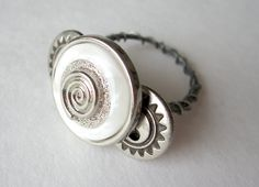 A Silver Button Trio Ring by Untimed on Etsy, $17.50