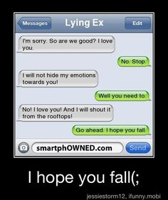 this sounds a lot like a convo i had with one of my ex's lol me being the one to tell him to fall lol