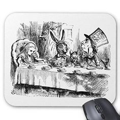 不思議の国のアリス 『 狂ったお茶会 』のマウスパッド:フォトパッド(アリスシリーズ) (モノクロ)