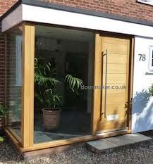 Noticeable unified entrance porch design No Credit Card Required Porch Flat Roof, Porch Uk, House With Porch, House Front, Oak Front Door, Front Door Porch, Front Porch Design, Front Windows, Porch Doors Uk