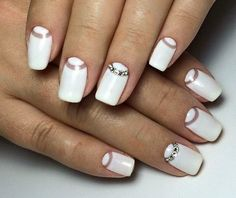 Beautiful nails, Half moon nails, Half-moon nails ideas, Holiday nails by shellac, Moon on the … Elegant Nail Designs, White Nail Designs, Best Nail Art Designs, Elegant Nails, Gem Nails, Nail Manicure, Manicure Ideas, Nail Art Blanc, Nail Art Design Gallery