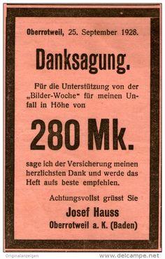Original-Werbung/ Anzeige 1928 - DANKSAGUNG -  VERSICHERUNG DER BILDER-WOCHE - ca. 70 x  110 mm