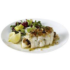 Sicilian-Style Cod - Fish fillets are your friends. They're über-healthy and cook fast, and if you use this recipe, they'll taste like a fancy chef hijacked your kitchen. #myplate #protein