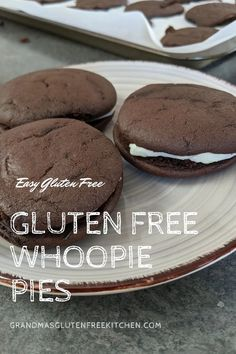 Gluten Free Whoopie Pies are made of two delicious soft chocolate cookies with a cream cheese frosting sandwiched between. #glutenfreecookies #glutenfreerecipes #easyglutenfree #whoppiepies Easy Gluten Free Desserts, Gluten Free Cookies, Gluten Free Recipes, Gourmet Recipes, Dessert Recipes, Gluten Free Kitchen, Gluten Free Baking, Sandwich Ingredients, Recipe Filing