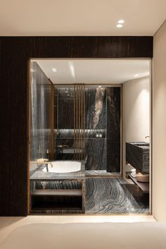 A dramatically veined marble and patinated brass details create a hotel-style look in this master bathroom. (Photography by Patricia Goijens) Contemporary Architecture, Interior Architecture, Interior Design, Master Bathroom, Design Projects, House, Architects, Furniture, Home Decor