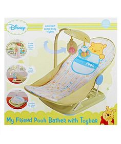 $27.99-$19.99 Baby The Summer Infant Winnie the Pooh Baby Bather with toy bar cradles and entertains your baby. Bath time is now easier for parents and more fun for baby. Soft water-proof mesh, sturdy slip-resistant base and fun Winnie the Pooh toy bar gives newborns the extra support and security they need. Help keep your little one entertained and comfortable with this must-have bath product.