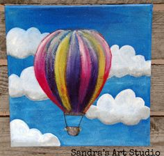Items similar to Cute painting of a little hot air balloon, acrylic paint on canvas 7 7/8 x 7 7/8 inch on Etsy