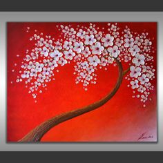 ORIGINAL White Cherry Blossom Tree Impasto Heavy Textured Acrylic Painting Abstract Palette Knife Red Landscape Art 30x24 Wall Decor by ZarasShop