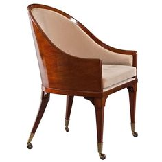 A Rare Swedish Neoclassical Mahogany Armchair | From a unique collection of antique and modern bergere chairs at http://www.1stdibs.com/seating/bergere-chairs/