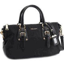 Prada BN2002 Logo Handbag in Black Tessuto Black « Clothing Impulse