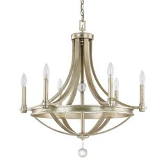 Featuring an iced gold finish and openwork design, this lovely chandelier casts a warm glow in your foyer or library.   Product: