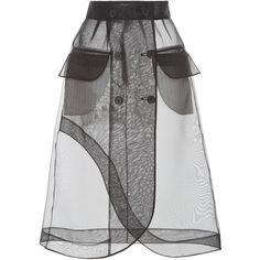 Kimhēkim Guifei Organza Skirt (9,575 MXN) ❤ liked on Polyvore featuring skirts, black, high-waisted skirt, organza skirt, high waisted a line skirt, high-waist skirt and high waisted knee length skirt
