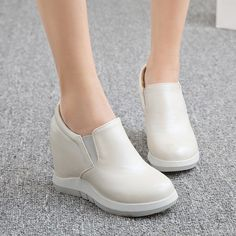 00f7fa0c42b8 Slip-on Height Increasing Women Platform Wedge Loafers Shoes 9528