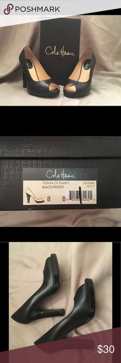 Cole Haan - Black Tonya peep toe pumps Gently worn (maybe 3 times?)  - Size 8B  - Peep toe pumps with Black with patent bottom / heel  - Minor scuffs on outside inner toe section  - Minor wear to leather soles  - Right sole has writing / numbers but not visible when worn  - New $249, purchased at Nordstrom Rack for $129.90  - Includes box and dust bag  - Smoke-free home Cole Haan Shoes Heels