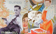 J. Eeckhout, #522, Desaster, 2Teile, Tempera u. Öl auf Leinw., 110 x 180 cm