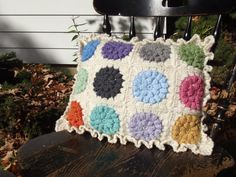 OOAK Reversable Crochet Flower Granny Square by CraftCoalition, $41.00