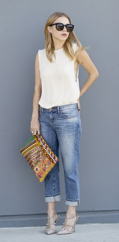 Embellished bag, distressed jeans, Valentino pumps