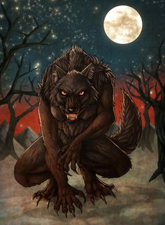 Black female werewolf by ~fiszike