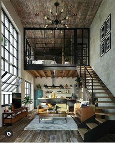 Loft House Design, Tiny House Loft, Loft Interior Design, Dream Home Design, Loft Home, Industrial Interior Design, Industrial House, Design Minimalista, Loft Interiors