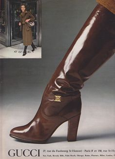 Gucci, 1977 vintage fashion color photo print ad models magazine designer brown patent leather boots heels 70s gold buckle