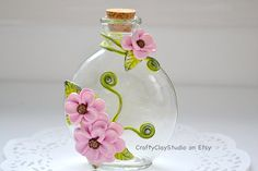 Decorated Bottle Embellished Bottle Sculpted by CraftyClayStudio