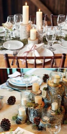 Thinking of this idea for the head table centerpiece instead of the lantern so it is different. We have the candles and the logs.
