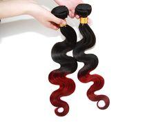 "DE local 1Bundles Ombre Human Hair Brazilian Hair 1B BURG# 100g/bundles 14""-20"""