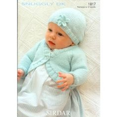 Bolero and Hat in Sirdar Snuggly DK - 1817 - Gorgeous Sirdar knitting patterns for two snuggly sweaters, a v-neck and a round-neck, which can be adapted for children from 0 to 7 years. Sirdar Knitting Patterns, Baby Cardigan Knitting Pattern Free, Crochet Baby Cardigan, Knitting Designs, Free Childrens Knitting Patterns, Crochet Shrugs, Crochet Yarn, Knitting For Kids, Free Knitting