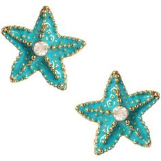Turquoise Starfish Stud Earrings (€22) ❤ liked on Polyvore featuring jewelry, earrings, accessories, fillers, women, turquoise post earrings, betsey johnson earrings, starfish stud earrings, starfish jewelry and stud earrings