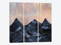 Mountainscape by Elisabeth Fredriksson 3-piece Canvas Wall Art