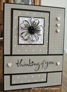 handmade greeting card from Our Little Inspirations: You're In My Thoughts ... Operation Write Home Sketch  Challenge #183 ... Sahara sand (reads gray on my computer which would be great too) with black and white accents ... black mats and ink ... love the script font for the sentiment .,. cute heart buttons balance the design ... coordinated print papers with subtle patterns give a monochromatic feel ... like this card!! ... Stampin' Up!