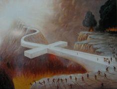 Una cruz acostada sobre un abismo, cruzando por ella pocas personas