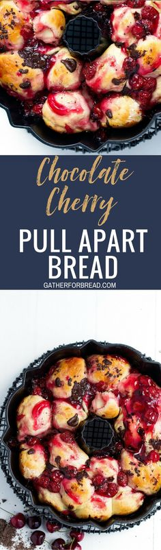 Chocolate Cherry Pull Apart Bread – Cherries and chocolate combine for a delicious pull apart bread made with sweet cherry pie filling and dotted with dark chocolate chunks for a recipe the whole crowd can enjoy.
