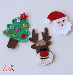 Annabelle Felt Baby Snap Christmas Clips - Santa, Reindeer or Tree