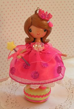 Pretty Pink Princess Doll Holiday by sweetiepiecaketopper on Etsy